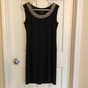 Black dress with gold/silver collar